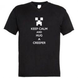 Мужская футболка  с V-образным вырезом KEEP CALM and HUG A CREEPER - FatLine