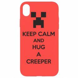 Чехол для iPhone XR KEEP CALM and HUG A CREEPER