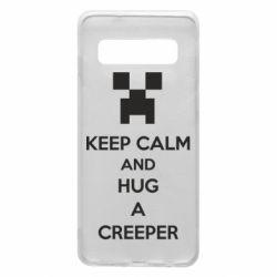 Чехол для Samsung S10 KEEP CALM and HUG A CREEPER