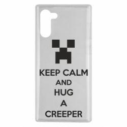 Чехол для Samsung Note 10 KEEP CALM and HUG A CREEPER