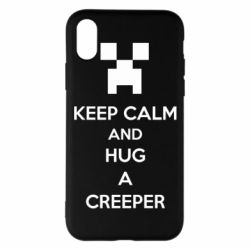 Чехол для iPhone X/Xs KEEP CALM and HUG A CREEPER