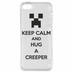 Чехол для iPhone5/5S/SE KEEP CALM and HUG A CREEPER