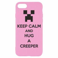 Чехол для iPhone 8 KEEP CALM and HUG A CREEPER
