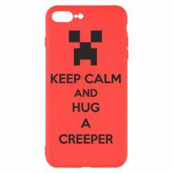 Чехол для iPhone 8 Plus KEEP CALM and HUG A CREEPER