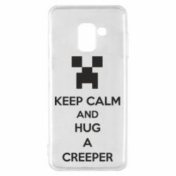 Чехол для Samsung A8 2018 KEEP CALM and HUG A CREEPER