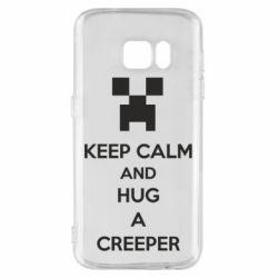 Чехол для Samsung S7 KEEP CALM and HUG A CREEPER
