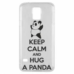 Чехол для Samsung S5 KEEP CALM and HUG A PANDA