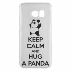 Чехол для Samsung S6 EDGE KEEP CALM and HUG A PANDA