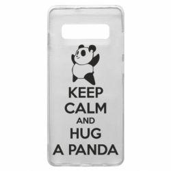 Чехол для Samsung S10+ KEEP CALM and HUG A PANDA