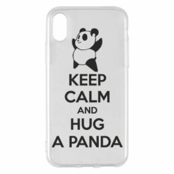Чехол для iPhone X/Xs KEEP CALM and HUG A PANDA