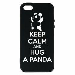 Чехол для iPhone5/5S/SE KEEP CALM and HUG A PANDA