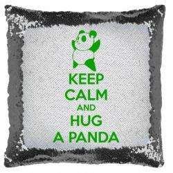 Подушка-хамелеон KEEP CALM and HUG A PANDA