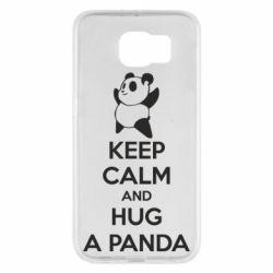 Чехол для Samsung S6 KEEP CALM and HUG A PANDA