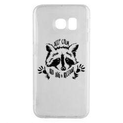 Чохол для Samsung S6 EDGE Keep calm and hug a raccoon