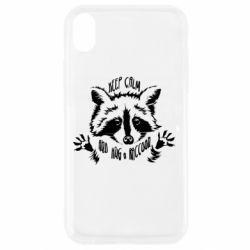 Чохол для iPhone XR Keep calm and hug a raccoon