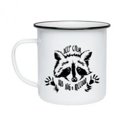 Кружка емальована Keep calm and hug a raccoon