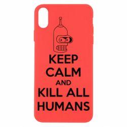 Чехол для iPhone X KEEP CALM and KILL ALL HUMANS - FatLine