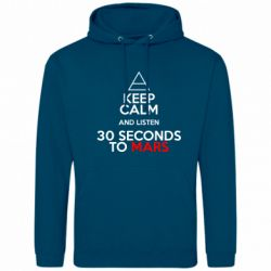 Мужская толстовка Keep Calm and listen 30 seconds to mars