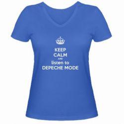 Женская футболка с V-образным вырезом KEEP CALM and LISTEN to DEPECHE MODE - FatLine