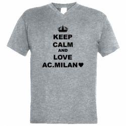 Чоловіча футболка з V-подібним вирізом Keep calm and love AC Milan