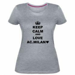 Жіноча стрейчева футболка Keep calm and love AC Milan