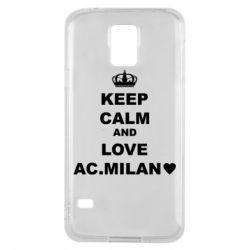 Чохол для Samsung S5 Keep calm and love AC Milan