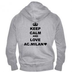 Чоловіча толстовка на блискавці Keep calm and love AC Milan