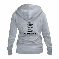 Жіноча толстовка на блискавці Keep calm and love AC Milan