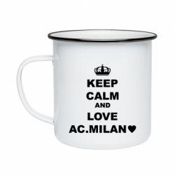 Кружка емальована Keep calm and love AC Milan