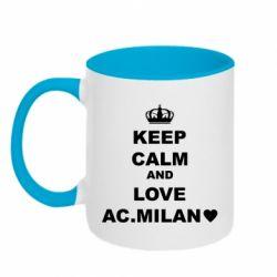 Кружка двоколірна 320ml Keep calm and love AC Milan