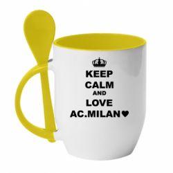 Кружка з керамічною ложкою Keep calm and love AC Milan