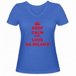 Жіноча футболка з V-подібним вирізом Keep calm and love AC Milan
