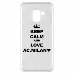 Чохол для Samsung A8 2018 Keep calm and love AC Milan