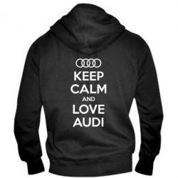 Мужская толстовка на молнии Keep Calm and Love Audi - FatLine