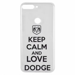 Чехол для Huawei Y7 Prime 2018 KEEP CALM AND LOVE DODGE - FatLine