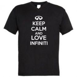 Мужская футболка  с V-образным вырезом KEEP CALM and LOVE INFINITI - FatLine