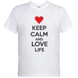 Мужская футболка  с V-образным вырезом KEEP CALM and LOVE LIFE - FatLine
