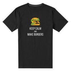 Мужская стрейчевая футболка Keep calm and make burger