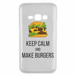 Чехол для Samsung J1 2016 Keep calm and make burger