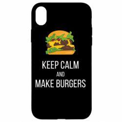 Чехол для iPhone XR Keep calm and make burger