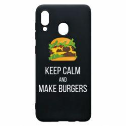 Чехол для Samsung A20 Keep calm and make burger
