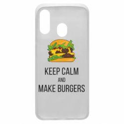 Чехол для Samsung A40 Keep calm and make burger