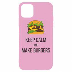 Чехол для iPhone 11 Keep calm and make burger