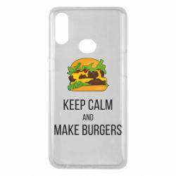 Чехол для Samsung A10s Keep calm and make burger