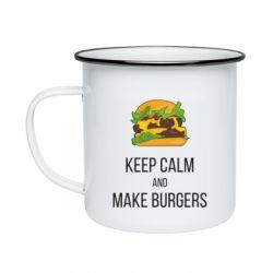 Кружка эмалированная Keep calm and make burger