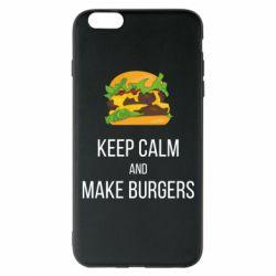 Чехол для iPhone 6 Plus/6S Plus Keep calm and make burger