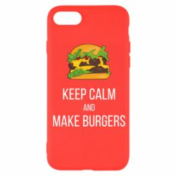 Чехол для iPhone 7 Keep calm and make burger