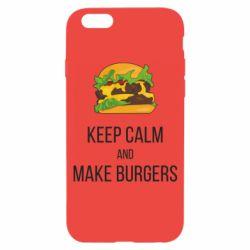 Чехол для iPhone 6/6S Keep calm and make burger