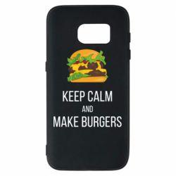 Чехол для Samsung S7 Keep calm and make burger