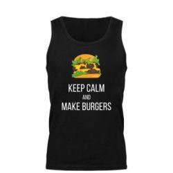 Мужская майка Keep calm and make burger